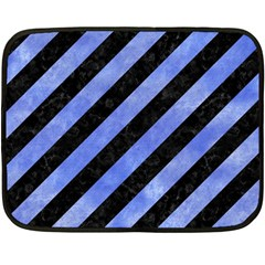 Stripes3 Black Marble & Blue Watercolor Fleece Blanket (mini) by trendistuff