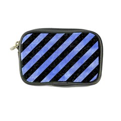 Stripes3 Black Marble & Blue Watercolor Coin Purse by trendistuff