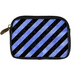 Stripes3 Black Marble & Blue Watercolor Digital Camera Leather Case by trendistuff