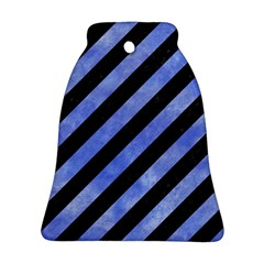 Stripes3 Black Marble & Blue Watercolor Ornament (bell) by trendistuff