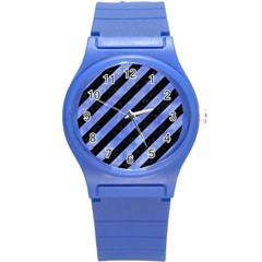 Stripes3 Black Marble & Blue Watercolor Round Plastic Sport Watch (s) by trendistuff
