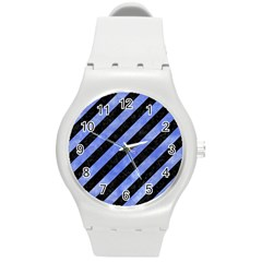 Stripes3 Black Marble & Blue Watercolor Round Plastic Sport Watch (m) by trendistuff
