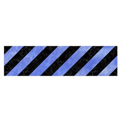 Stripes3 Black Marble & Blue Watercolor Satin Scarf (oblong) by trendistuff