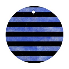 Stripes2 Black Marble & Blue Watercolor Ornament (round) by trendistuff