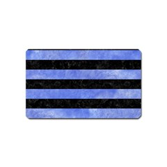 Stripes2 Black Marble & Blue Watercolor Magnet (name Card) by trendistuff