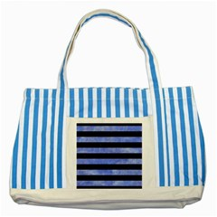 Stripes2 Black Marble & Blue Watercolor Striped Blue Tote Bag by trendistuff