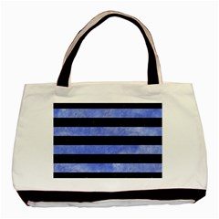 Stripes2 Black Marble & Blue Watercolor Basic Tote Bag (two Sides) by trendistuff