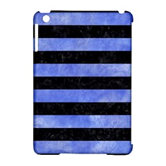 Stripes2 Black Marble & Blue Watercolor Apple Ipad Mini Hardshell Case (compatible With Smart Cover) by trendistuff