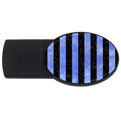Stripes1 Black Marble & Blue Watercolor Usb Flash Drive Oval (2 Gb) by trendistuff