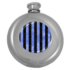Stripes1 Black Marble & Blue Watercolor Hip Flask (5 Oz) by trendistuff