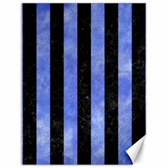 Stripes1 Black Marble & Blue Watercolor Canvas 12  X 16  by trendistuff