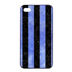 Stripes1 Black Marble & Blue Watercolor Apple Iphone 4/4s Seamless Case (black) by trendistuff