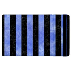 Stripes1 Black Marble & Blue Watercolor Apple Ipad 3/4 Flip Case by trendistuff