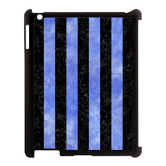 Stripes1 Black Marble & Blue Watercolor Apple Ipad 3/4 Case (black) by trendistuff
