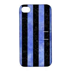 Stripes1 Black Marble & Blue Watercolor Apple Iphone 4/4s Hardshell Case With Stand by trendistuff