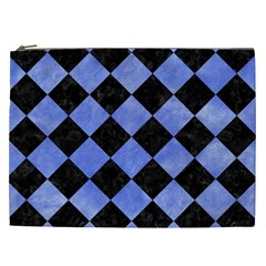 Square2 Black Marble & Blue Watercolor Cosmetic Bag (xxl) by trendistuff