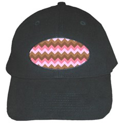 Shades Of Pink And Brown Retro Zigzag Chevron Pattern Black Cap by Nexatart