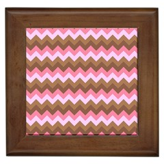 Shades Of Pink And Brown Retro Zigzag Chevron Pattern Framed Tiles by Nexatart