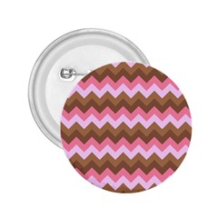 Shades Of Pink And Brown Retro Zigzag Chevron Pattern 2 25  Buttons