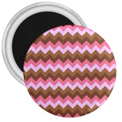 Shades Of Pink And Brown Retro Zigzag Chevron Pattern 3  Magnets by Nexatart