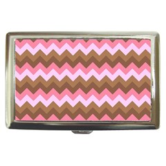 Shades Of Pink And Brown Retro Zigzag Chevron Pattern Cigarette Money Cases by Nexatart