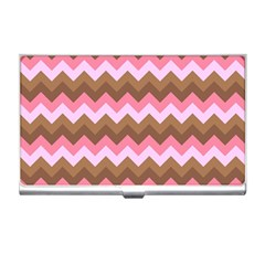Shades Of Pink And Brown Retro Zigzag Chevron Pattern Business Card Holders