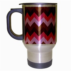 Shades Of Pink And Brown Retro Zigzag Chevron Pattern Travel Mug (silver Gray)