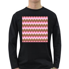 Shades Of Pink And Brown Retro Zigzag Chevron Pattern Long Sleeve Dark T Shirts by Nexatart