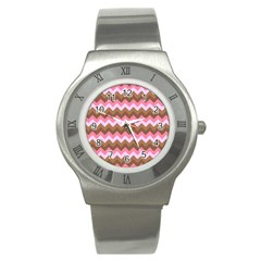 Shades Of Pink And Brown Retro Zigzag Chevron Pattern Stainless Steel Watch