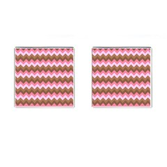 Shades Of Pink And Brown Retro Zigzag Chevron Pattern Cufflinks (square)