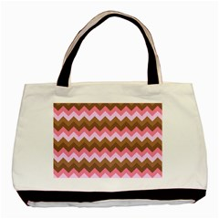 Shades Of Pink And Brown Retro Zigzag Chevron Pattern Basic Tote Bag