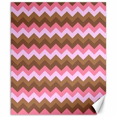 Shades Of Pink And Brown Retro Zigzag Chevron Pattern Canvas 20  X 24   by Nexatart
