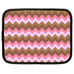 Shades Of Pink And Brown Retro Zigzag Chevron Pattern Netbook Case (xl)
