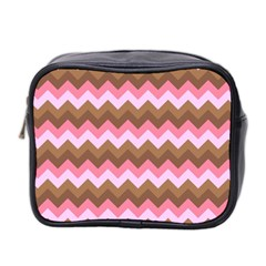 Shades Of Pink And Brown Retro Zigzag Chevron Pattern Mini Toiletries Bag 2 Side