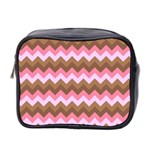 Shades Of Pink And Brown Retro Zigzag Chevron Pattern Mini Toiletries Bag 2-Side Front