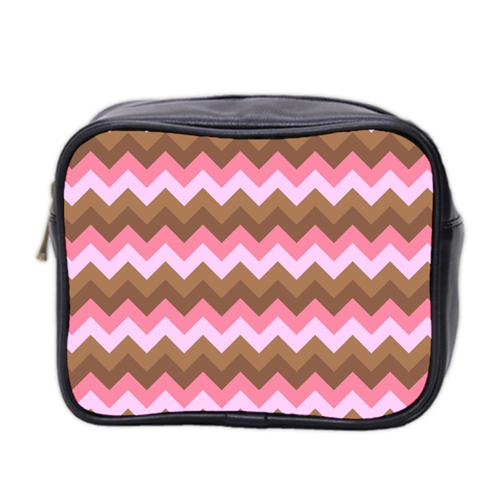 Shades Of Pink And Brown Retro Zigzag Chevron Pattern Mini Toiletries Bag 2-Side