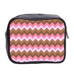 Shades Of Pink And Brown Retro Zigzag Chevron Pattern Mini Toiletries Bag 2-Side Back
