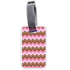 Shades Of Pink And Brown Retro Zigzag Chevron Pattern Luggage Tags (one Side)  by Nexatart