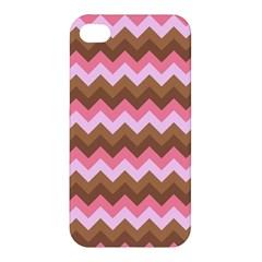 Shades Of Pink And Brown Retro Zigzag Chevron Pattern Apple Iphone 4/4s Premium Hardshell Case