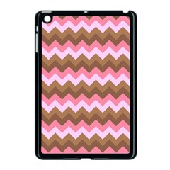 Shades Of Pink And Brown Retro Zigzag Chevron Pattern Apple Ipad Mini Case (black) by Nexatart