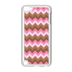 Shades Of Pink And Brown Retro Zigzag Chevron Pattern Apple Ipod Touch 5 Case (white) by Nexatart