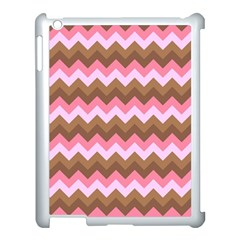 Shades Of Pink And Brown Retro Zigzag Chevron Pattern Apple Ipad 3/4 Case (white) by Nexatart