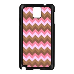Shades Of Pink And Brown Retro Zigzag Chevron Pattern Samsung Galaxy Note 3 N9005 Case (black) by Nexatart
