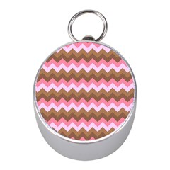 Shades Of Pink And Brown Retro Zigzag Chevron Pattern Mini Silver Compasses by Nexatart