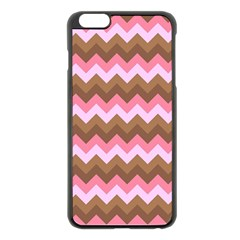Shades Of Pink And Brown Retro Zigzag Chevron Pattern Apple Iphone 6 Plus/6s Plus Black Enamel Case