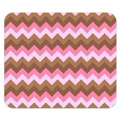 Shades Of Pink And Brown Retro Zigzag Chevron Pattern Double Sided Flano Blanket (small)  by Nexatart
