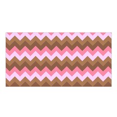 Shades Of Pink And Brown Retro Zigzag Chevron Pattern Satin Shawl by Nexatart