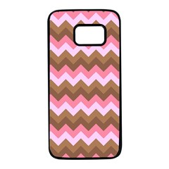 Shades Of Pink And Brown Retro Zigzag Chevron Pattern Samsung Galaxy S7 Black Seamless Case by Nexatart