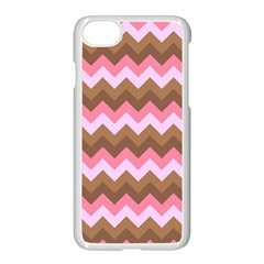 Shades Of Pink And Brown Retro Zigzag Chevron Pattern Apple Iphone 7 Seamless Case (white)