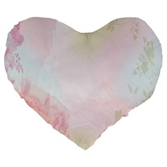 Watercolor Floral Large 19  Premium Heart Shape Cushions by Nexatart